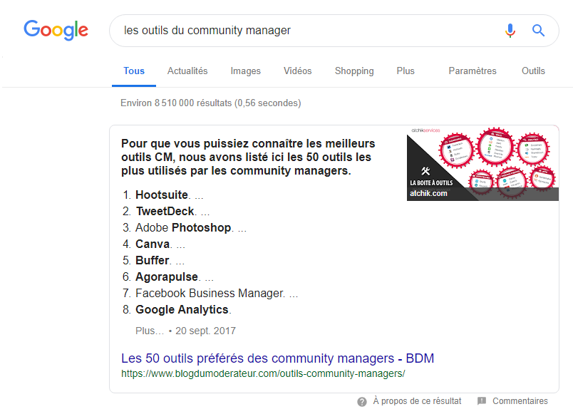 Contenu qualitatif en featured snippet - Tendances en Marketing Digital 2019