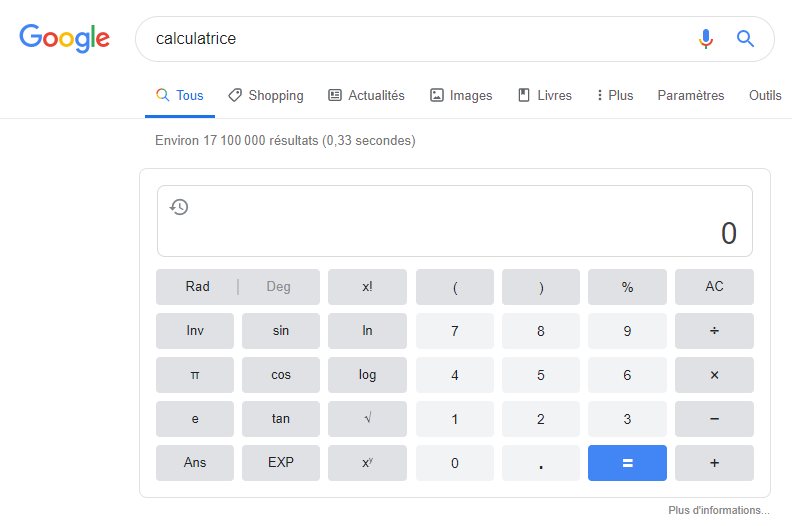 Featured snippet - Position 0 - calculatrice