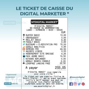 Le ticket de caisse du digital marketer - Mounir Digital - Infographies originales
