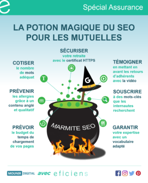 La potion magique du SEO pour les mutuelles - Infographies collabs - Mounir Digital x Eficiens