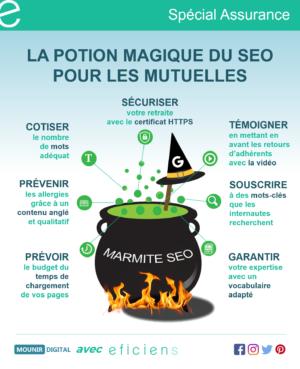 La potion magique du SEO pour les mutuelles - Infographies collabs - Mounir Digital x Eficiens