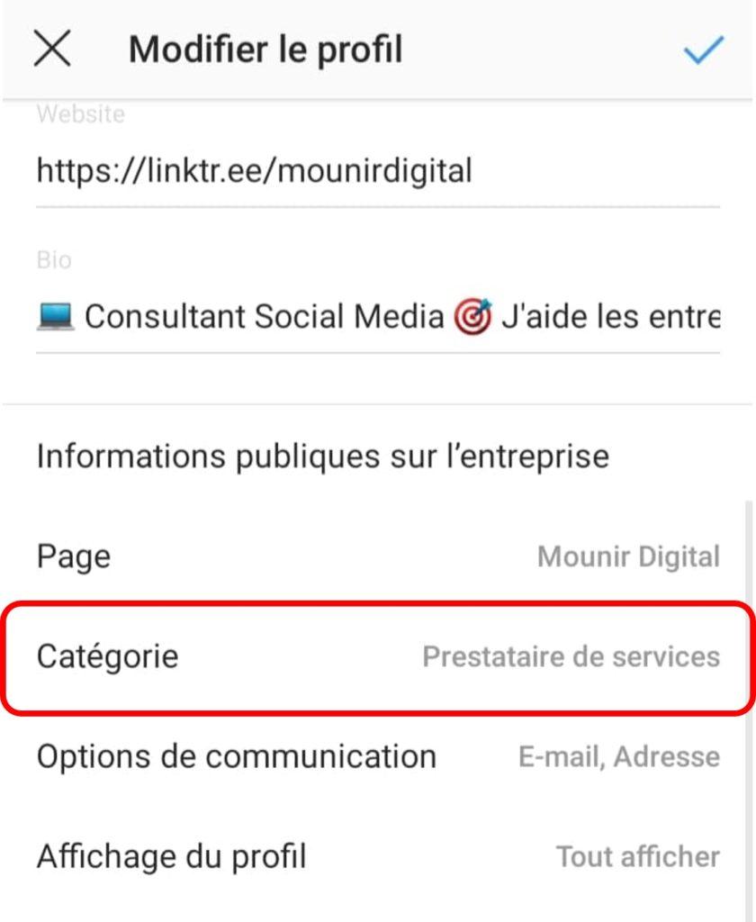 Mounir Digital - Comment rendre son compte instagram attractif - catégories