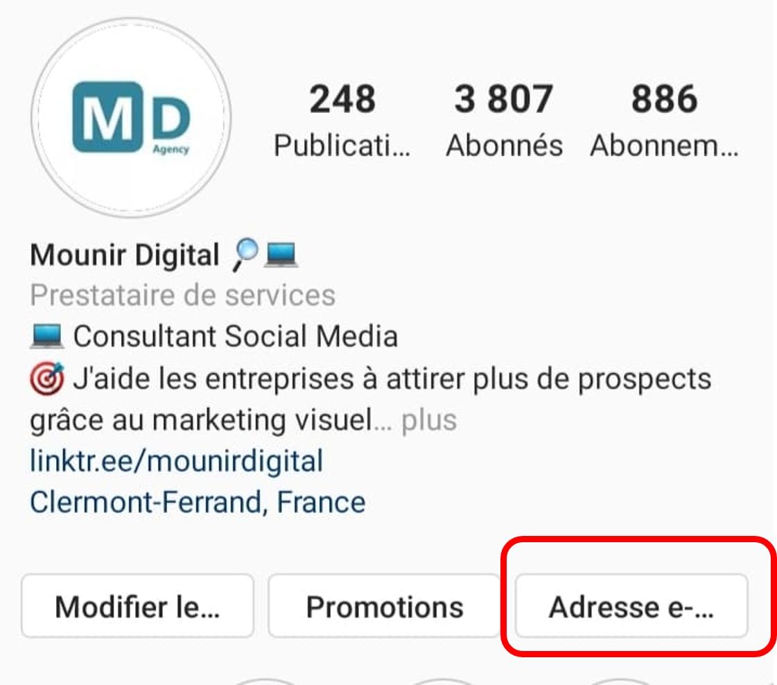 Mounir Digital - Comment rendre son profil Instagram attractif - option de communication