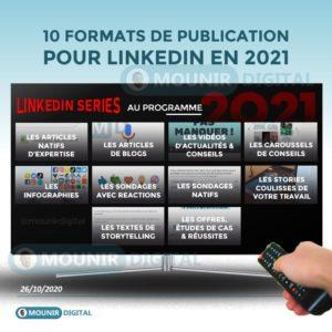 10 FORMATS DE CONTENUS LINKEDIN POUR 2021 - Mounir Digital