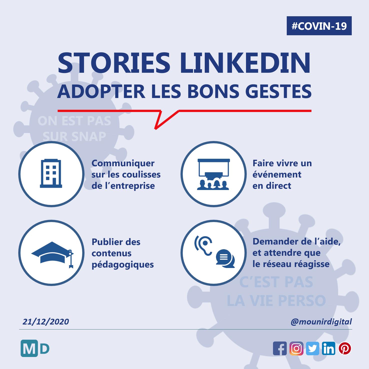 Story Linkedin - Adopter les bons gestes - Mounir Digital