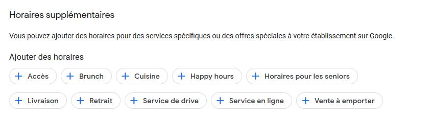 Horaires supplémentaires Google My Business - Catégories