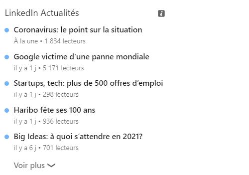 Screen de LinkedIn Actualités - 5 outils pour une veille digitale efficace - Mounir Digital