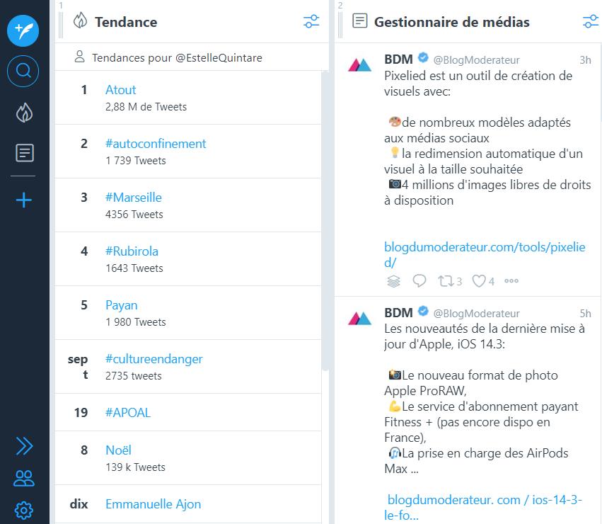 Screen de TweetDeck - 5 outils pour une veille digitale efficace - Mounir Digital