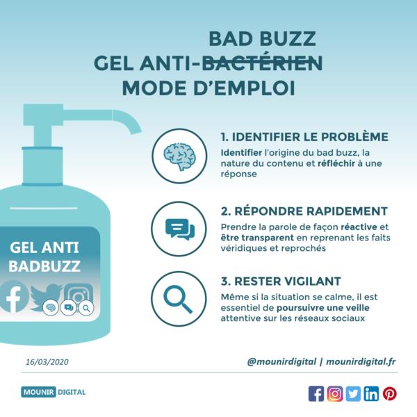 Infographie gel - comment éviter et gérer un bad buzz - mounir digital